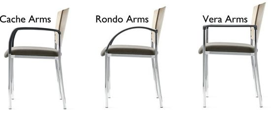 Arm styles for stacking caster chairs