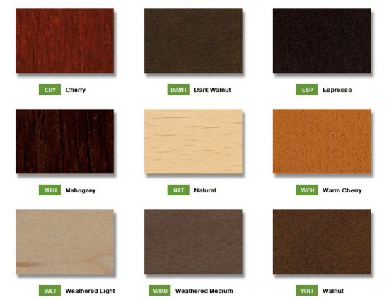 Source Seating standard wood finishes for stacking chairs